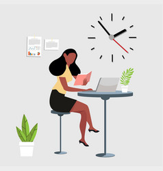 Woman reading a book with computer workspace vector
