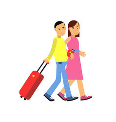 Young couple tourists walking to airport with vector
