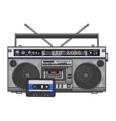 audio tape recorder ghetto boom box and audiotape vector image vector image