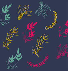 botanicals pattern colorful with plants herbs vect vector image