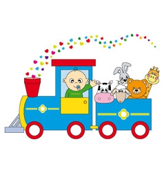 childrens train animals vector image