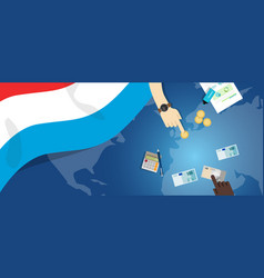 Luxembourg economy fiscal money trade concept vector
