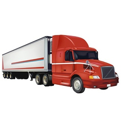 Red Trailer Truck vector image vector image