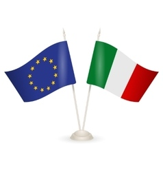 Table stand with flags of Italy and EU vector image vector image
