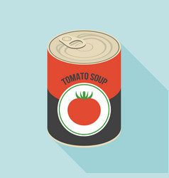 tomato soup canned flat design vector image vector image
