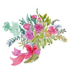 watercolor bouquet vector image