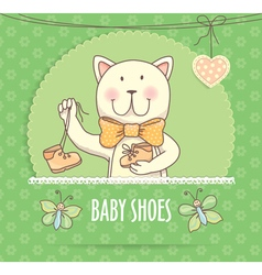 Baby shoes banner with cat vector image vector image