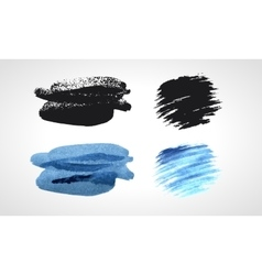 Black and blue grunge hand drawn blobs set vector