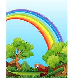 Rainbow and field vector image vector image