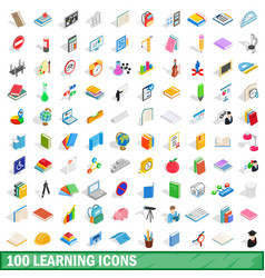 100 learning icons set isometric 3d style vector image vector image