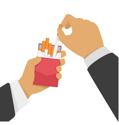 cigarettes in hand man vector image
