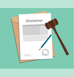 disclaimer agreement stamped with folder document vector image