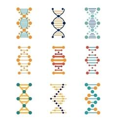 Dna genetics icons vector
