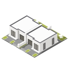 One storey connected cottage with flat roof vector image vector image