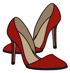 Red high heel shoes vector