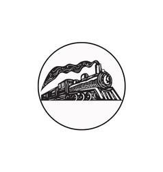 Steam train locomotive coming up circle woodcut vector
