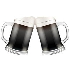 Two dark beer mugs clink vector image
