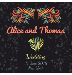 Wedding invitation vertical template with doodle vector image