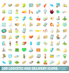 100 logistic and delivery icons set cartoon style vector image vector image
