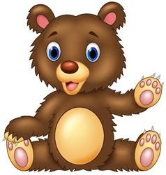 Cartoon happy bear presenting vector image vector image