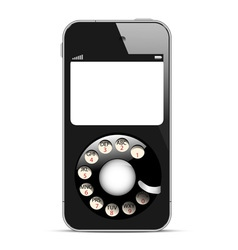 Creative Mobile phone with retro disc dials vector image