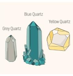 crystal quartz mineral set vector image