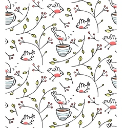 Garden with Birds Seamless Pattern vector image vector image
