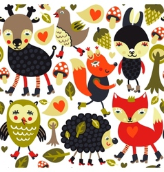 Seamless pattern with woodland animals and birds vector image