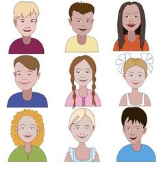 Set of nine young children vector image vector image
