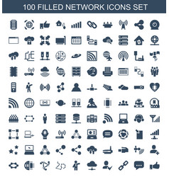 100 network icons vector