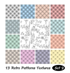 13 Retro Patterns Textures Set 9 vector image