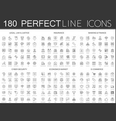 180 modern thin line icons set of legal law and vector image