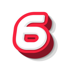 3d bold funny number 6 heavy type for modern vector