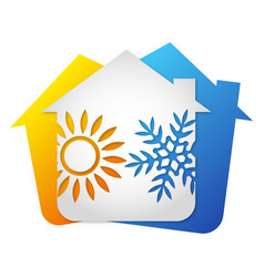 air conditioning system in house installation vector image