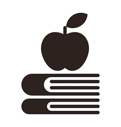 Apple on a books - Education symbol vector image