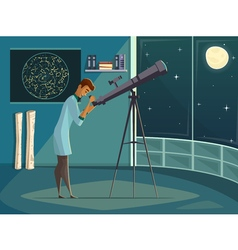 Astronomer with telescope retro cartoon poster vector