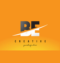 be b e letter modern logo design with yellow vector image