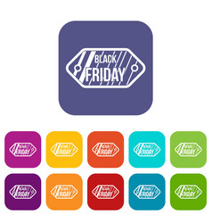 black friday sale tag icons set vector image