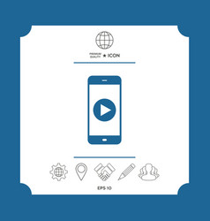 business phone with play button icon vector image