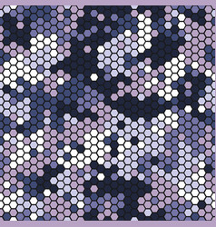 Camouflage seamless pattern with violet hexagonal vector
