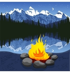 Campfire with stones near mountain lake vector