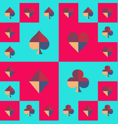 Card suit chess board blue sky and pink pattern vector