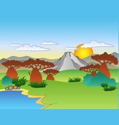 cartoon african landscape vector image