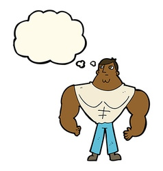 Cartoon body builder with thought bubble vector