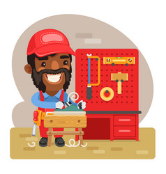 cartoon carpenter woodworking vector image