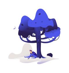 cartoon young man sitting under tree vector image