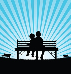 Children sitting on bench silhouette vector