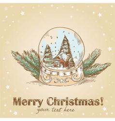 Christmas hand drawn postcard with cute glass ball vector image