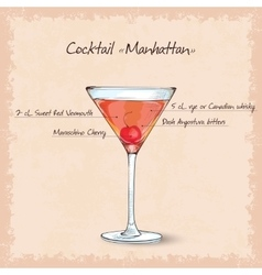 Cocktail manhattan scetch vector
