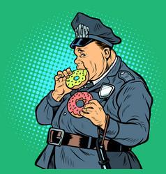 cop eats donut vector image